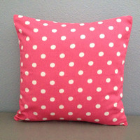 Pink Dot Decorative Pillow 18in Envelope Cover ikat Dot  Pink and White Polka Dot Nursery Decor Modern Girl Pillow Toss Pillow Throw Pillow