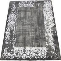 "Gray and White Bordered Rug 7'7"" x 5'3"""