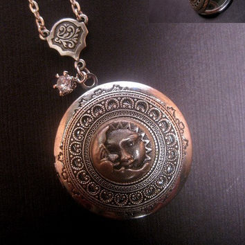 Sun And Moon Locket Necklace - Silver Moon Necklace - Photo Locket - Custom Chain Length