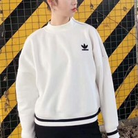 adidas White Fashion Casual Long Sleeve Pullover Sweater G-ZDL-STPFYF