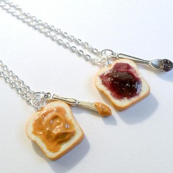 Peanut Butter Jelly Necklace Set, Best Friend's BFF Necklace, Cute :D