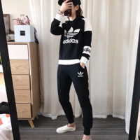 """Adidas"" Casual Print Hoodie Top Sweater Pants Trousers Set Two-piece Sportswear"