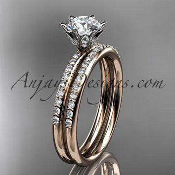14kt rose gold diamond unique engagement set, wedding set ADER145