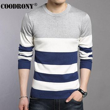Winter New Young Dress Striped O-Neck Sweater Men Knitted Cashmere Pullover Men Wool Sweaters Pull