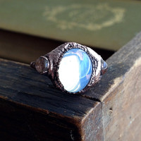 3 Cabochon - Vintage Glass Electroformed Ring - Size 4.5