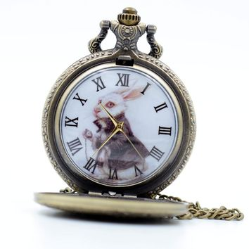 Steampunk Alice in Wonderland The White Rabbit Dial Quartz Pocket Watch Analog Pendant Necklace Mens Womens  relogio de bolso
