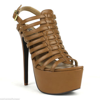 "Fahrenheit Tan Strappy Slingback Platform Sandal Wood Look 6"" High Heel"