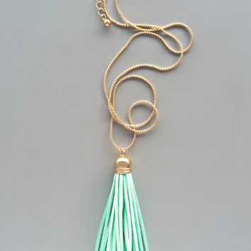Sweet Mint Suede Tassel Necklace