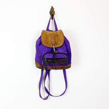 purple canvas backpack / 90s small napsack w/ suede flap