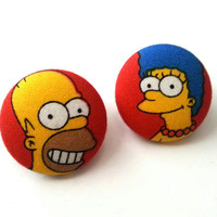 Homer and Marge Simpson handmade large fabric button earrings