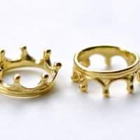 Gold Crown Ring Charms 6x17mm Set of 10 pcs A8077
