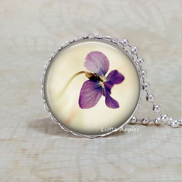 Purple orchid photo pendant, flower necklace, nature glass keychain, floral jewelry