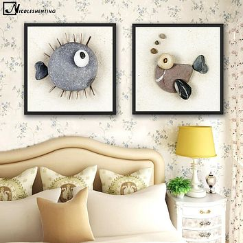 NICOLESHENTING Creatvie Stone Fish Minimalist Art Canvas Poster Painting Abstract Wall Picture Modern Home Room Decoration