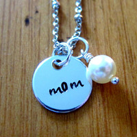 "Mother's Day ""Mom"" Necklace. Hand stamped silver colored pendant with a Swarovski pearl. Small, simple and elegant! 1/2"" charm."