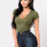 Touch My Body Bodysuit - Olive