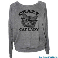 Womens CRAZY CAT LADY sweatshirt -- american apparel S M L -- (5 Color Options)