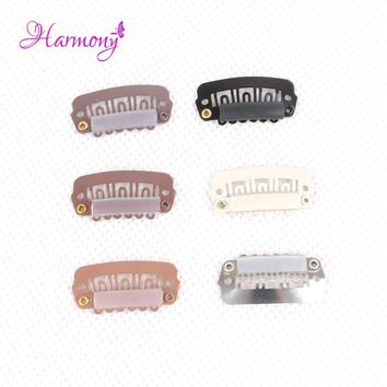 Harmony Plus Hair 50pcs 2.8cm hair snap clips for hair extensions U Shape toupee wig 6 teeth clips styling tools