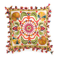 India Artisan Made XL 24x24 Embellished Suzani Boho Fringe Pillow