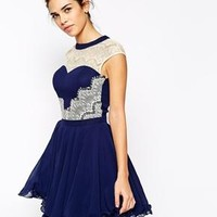Chi Chi London | Chi Chi London Skater Dress With Lace Insert Detail at ASOS