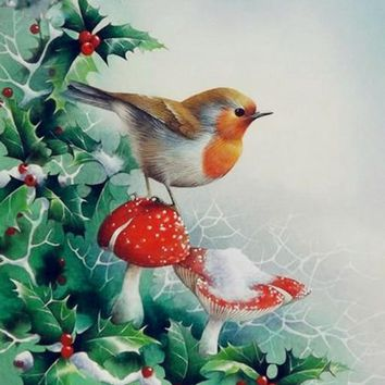 5D Diamond Painting Bird and Snowy Mushrooms & Berries Kit