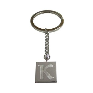 Silver Toned Etched Greek Letter Kappa Pendant Keychain