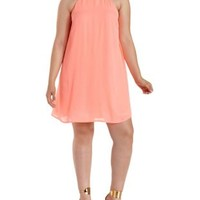 Plus Size Coral Gold-Banded Halter Shift Dress by Charlotte Russe