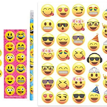 Emoji Temporary Tattoo Sheet of 33 Fun Emojis and 12 Emoji Stationary Sets-Each Set has 1 Sheet of 12 Stickers, 3 Erasers, 1 Pencil, Emoticon Fun for Birthday Parties, Great for Prizes, Classroom Fun