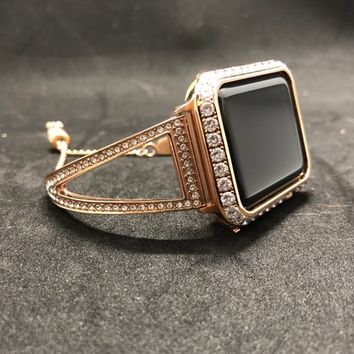 Series 4 Bangle Cuff Apple Watch Band 38mm 40mm 42mm 44mm Rhinestone Crystals CZ's Rose Gold Chain/Case Cover Bezel 3mm Lab Diamonds Iwatch
