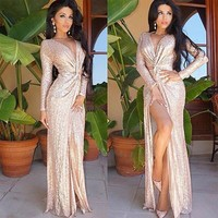 Rose gold sequined long sleeved V tie dress