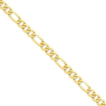 14K Yellow Gold 10.00mm Flat Figaro Chain Necklace - Fine Jewelry Gift