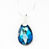 Swarovski Pendant Crystal Xilion Bead Swarovski Necklace Deep Ocean Bermuda Blue Christmas Gift Idea for Her