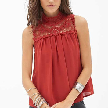 Crochet Lace Sleeveless Button Back Blouse