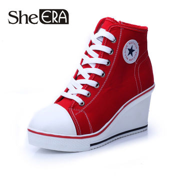 Free shipping 2016 badge wedges high lacing casual elevator shoes female canvas shoes high top wedge boots women casual shoes
