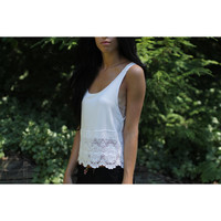 Crochet Lace Trim White Tank Top.