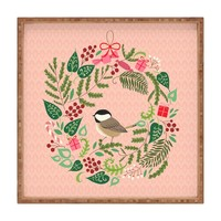 Pimlada Phuapradit bird and christmas wreath Square Tray