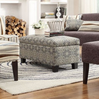 Modern Bench Ottoman Lift-Top Storage Compartment Floral Fabric Home Furniture
