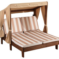 Double Chaise, Oatmeal & White Stripes, Outdoor Chaise Longues