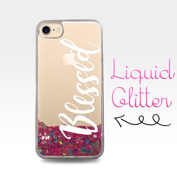 Blessed Curisve Quote White Cute Font Tumblr Liquid Glitter Sparkle Clear Case iPhone 6 Plus + iPhone 6s iPhone SE iPhone 7 iPhone 7 Plus