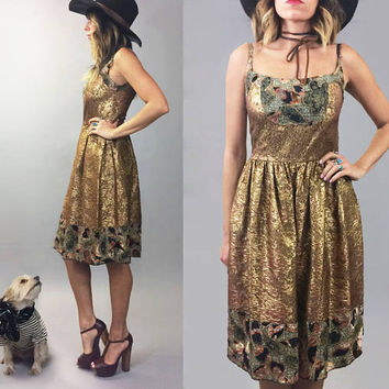 Vintage ANNA SUI Paisley Patchwork Metallic Bronze Silk Boho Evening Dress || Size Small || Size 2 To 4