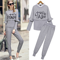 Letter Print Ruffled Long-Sleeve Shirt With Pants
