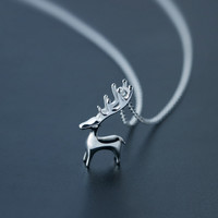 Fashion cute stereoscopic elk 925 sterling sliver necklace,Can be used as a Christmas gift for him (her)