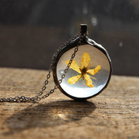 real flower pendant, boho, terrarium pendant, yellow flowers, plant and flower, statement necklace, botanical jewelry,