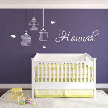 Bird Cage, Name, Birds Decal, Hanging Aviary, Flying, Baby Room, Children, Girls, Playroom, Text, Script, Wall, Decals Sticker