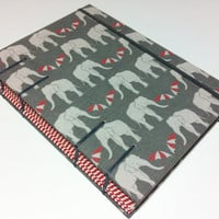 Handmade Fabric Coptic Stitched Journal Notebook - Elephants with Umbrellas on Gray