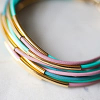Pastel colors Leather Bracelet with 12 Golden tubes by by pardes