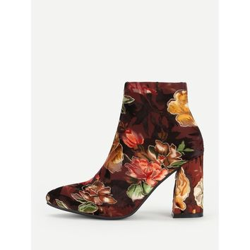 Floral Print Block Heeled Ankle Boots