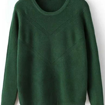 Green Long Sleeve Slit Sweater