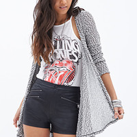 FOREVER 21 Draped Knit Cardigan Black/Cream