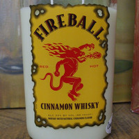 20 Ounce Pure Soy Candle in Reclaimed Fireball Cinnamon Whisky Liquor Bottle - Scented COUNTRY BUMPKIN or Your Choice of Scent