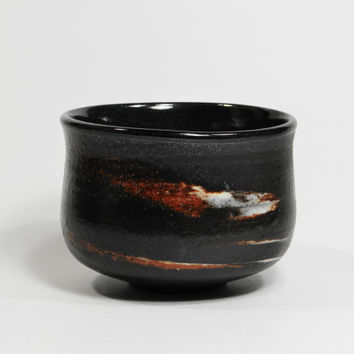 Dark brown stoneware tea bowl, chawan, yunomi with marbled clay, teacup, tea cup, agate tea bowl,  decorative bowl, father's day gift